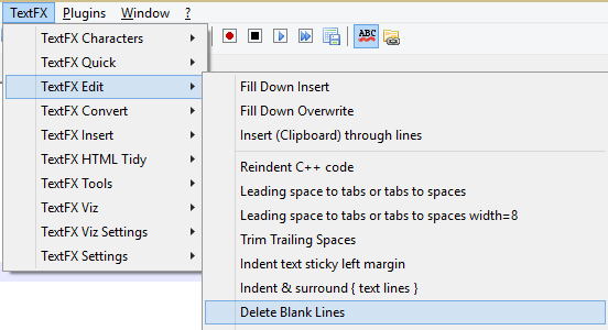 Delete Blank lines in a file Using Notepad++