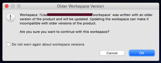 Eclipse Older Workspace Version