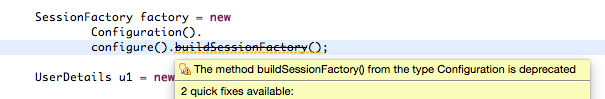 The method buildSessionFactory from the type Configuration is deprecated