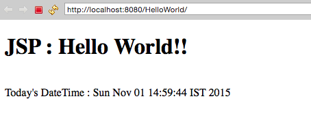 Output JSP Hello World Program using Eclipse Tomcat Server
