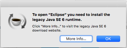 To open eclipse you need to install the legacy java 6 runtime