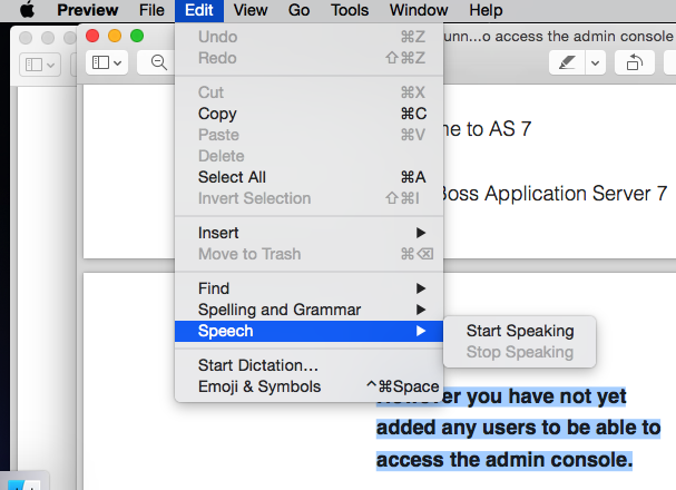 Speech option for PDF in Preview App Mac OS X