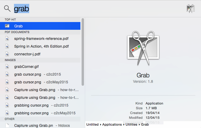 Spotlight Search file path location on Mac OS X Mavericks or