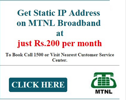 MTNL Static IP ad