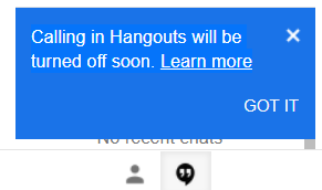 Gmail Calling hangout turned off message