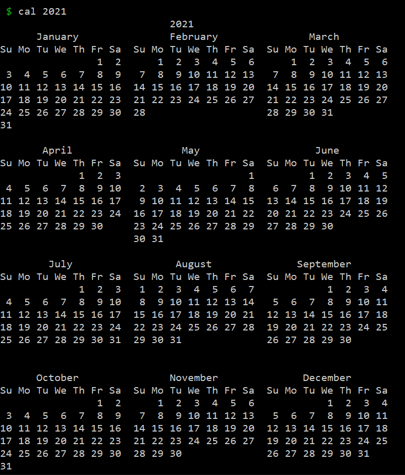 Year 2021 Calendar using bash command.