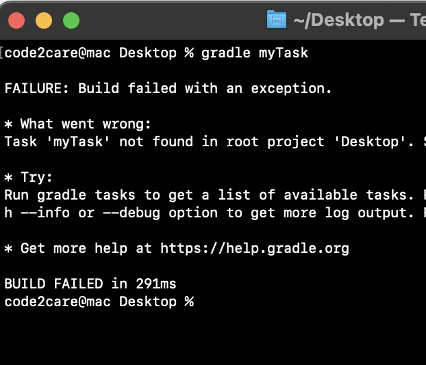 Gradle Build Failed with an exception. Task not found in root project error