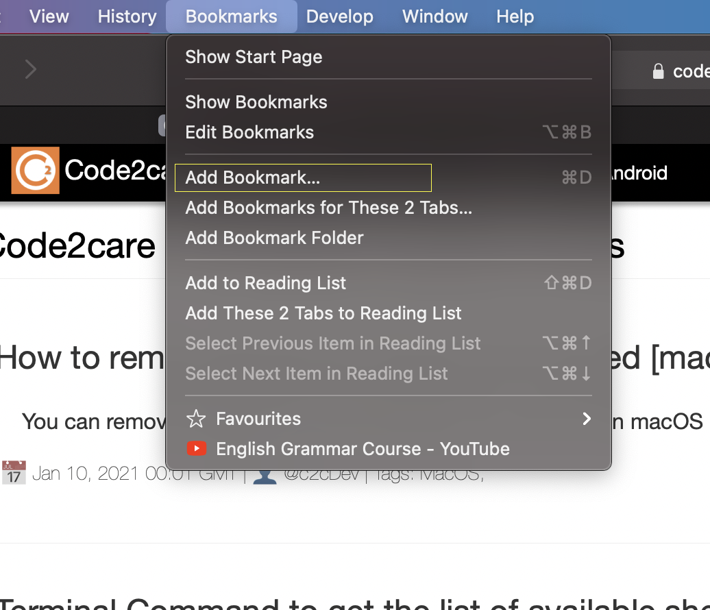 Safari add bookmark