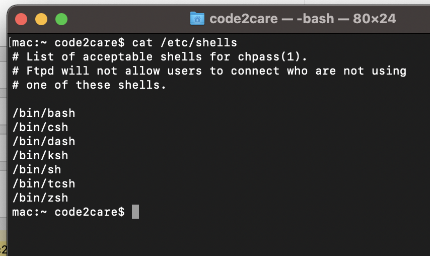 Terminal command to get available shells in macOS