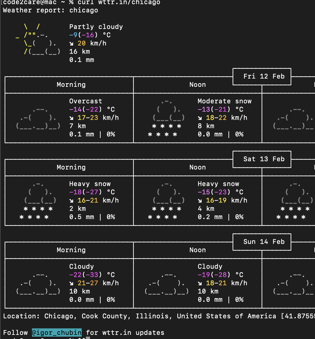 Weather details using command line
