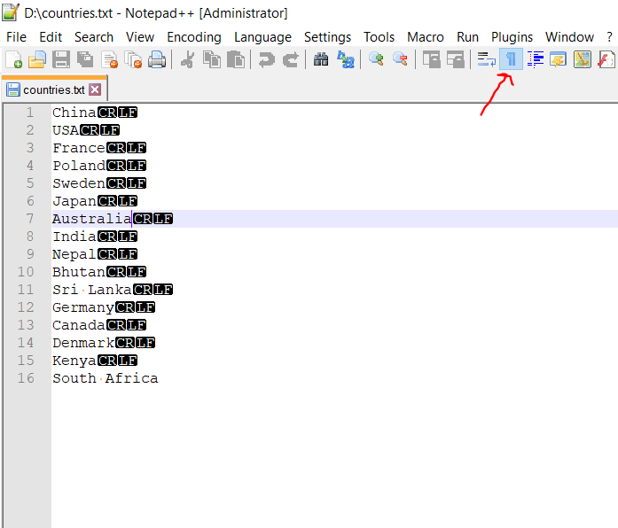 Turn off CRLF Characters Notepad++