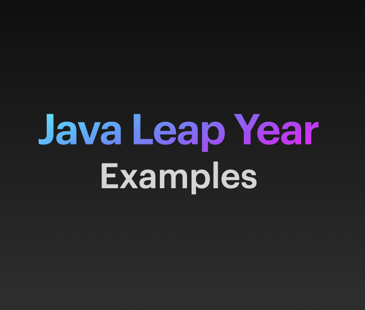 Java Leap year Examples