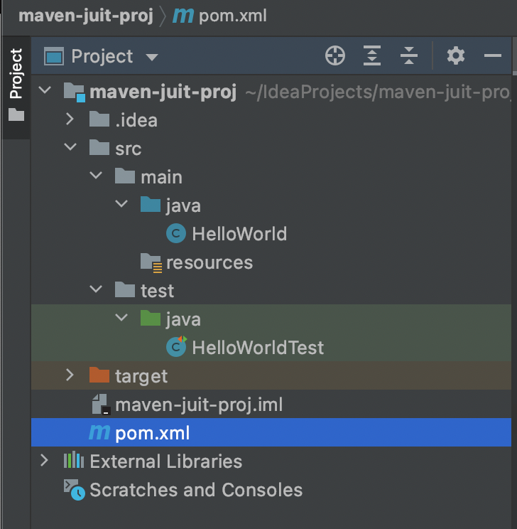 Java Project Structure with JUnit test cases with Maven