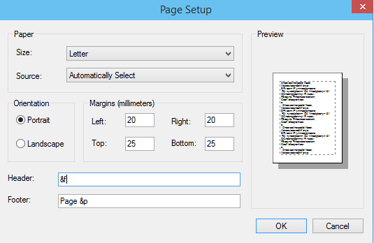 Notepad adding custom Header and Footer