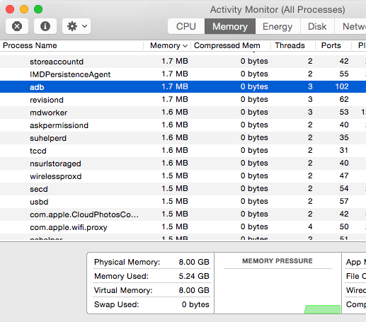 Quit adb process running on mac osx acivity manager