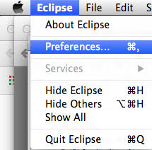 Preferences in Eclipse for macOS