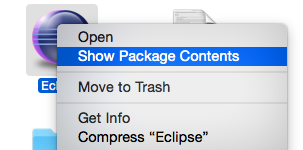 Right Click on eclipse icon to see package contents