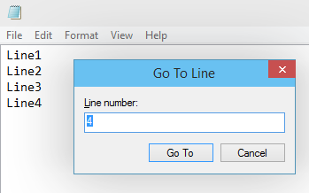 Go to Line number Option in Notepad