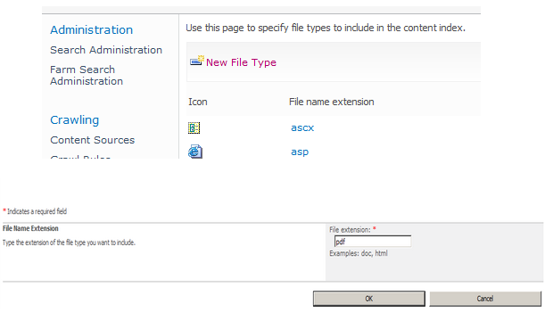 Add the pdf file type to the SharePoint Content Index