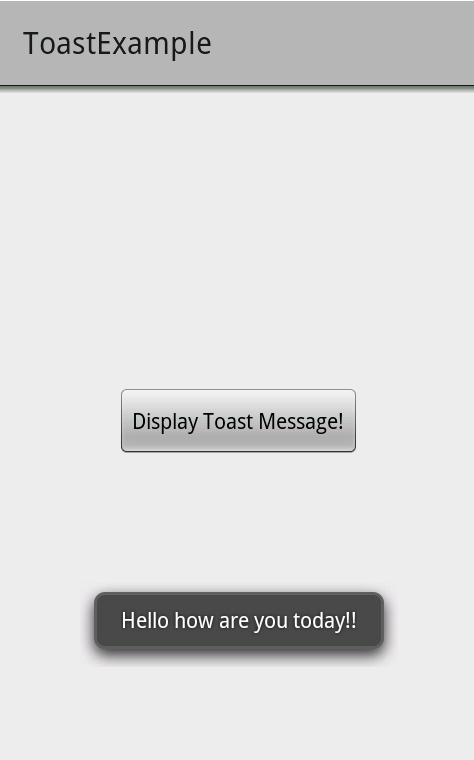 Display Toast Message on Button Click