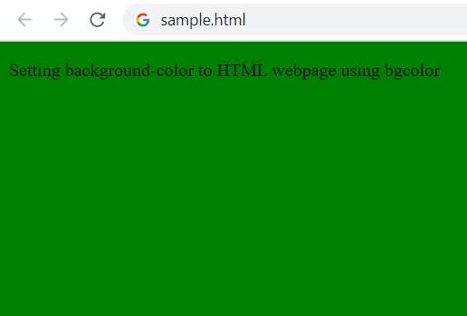 Setting html body background color using bgcolor attribute