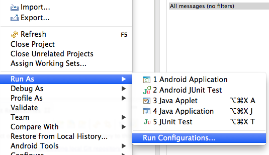 Go to Run - Run Configurations