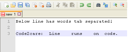 Tab separated file opened in Notepad++