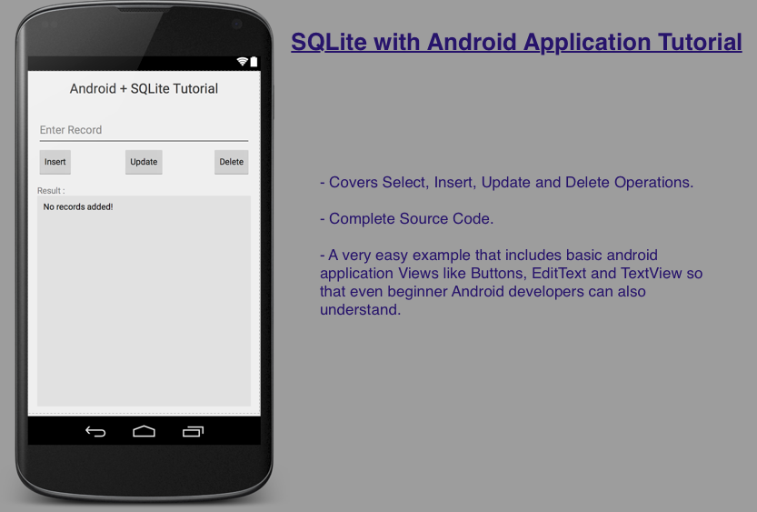 Android and SQLite simplified example