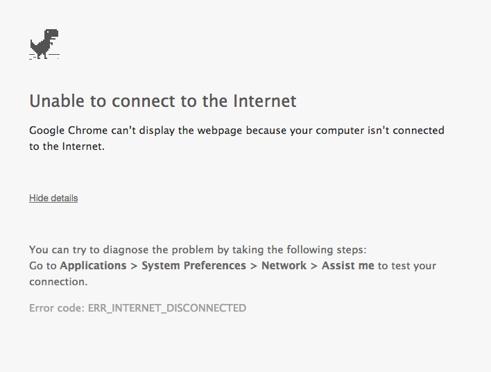Chrome Error Unable to access to the Internet