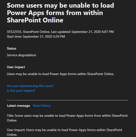 SharePoint Online PowerApps form not working.PNG