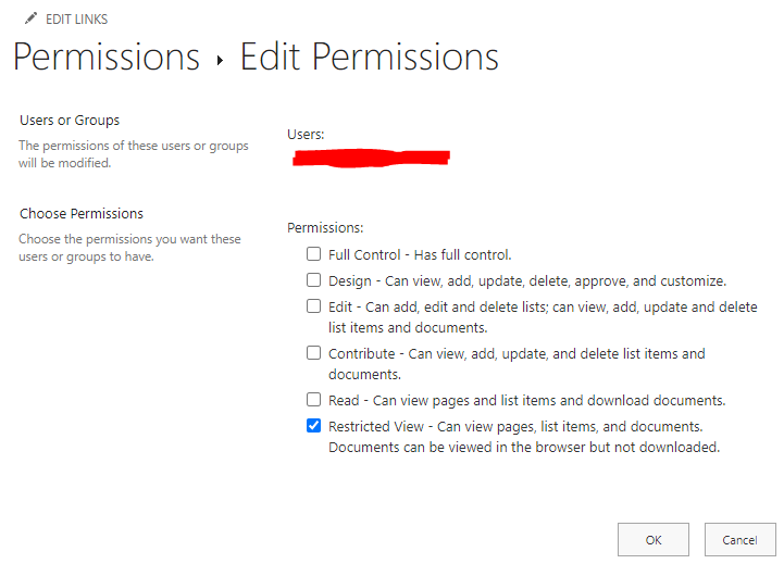 SharePoint Restricted View permissions