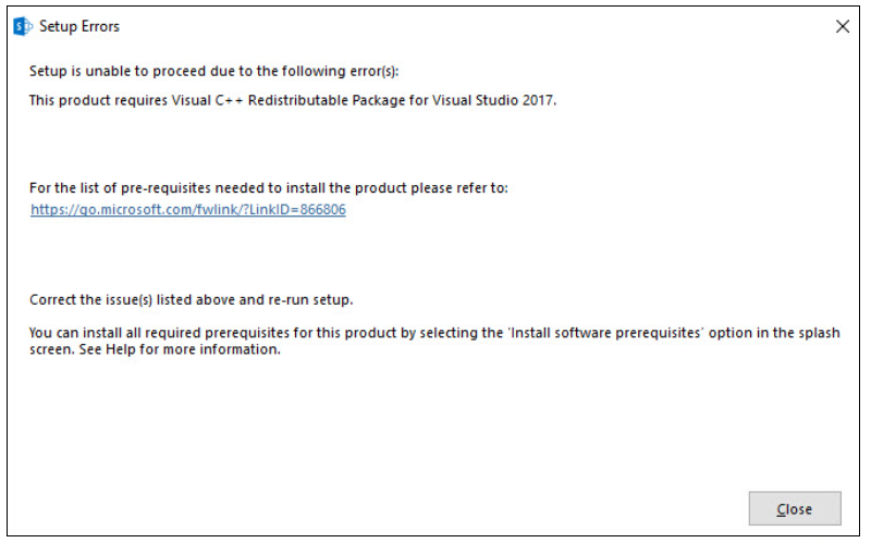 SharePoint installation error - Visual C++ Redistributable Package.PNG