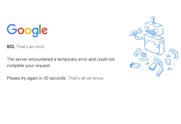 Gmail down 502 error