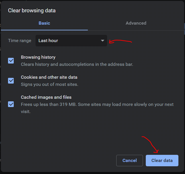 Step 4 - Clear Browsing data