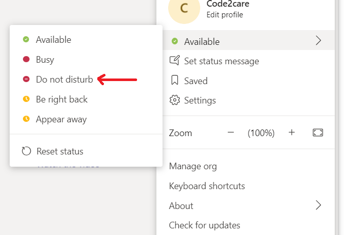 Microsoft Teams Do Not Disturb Mode