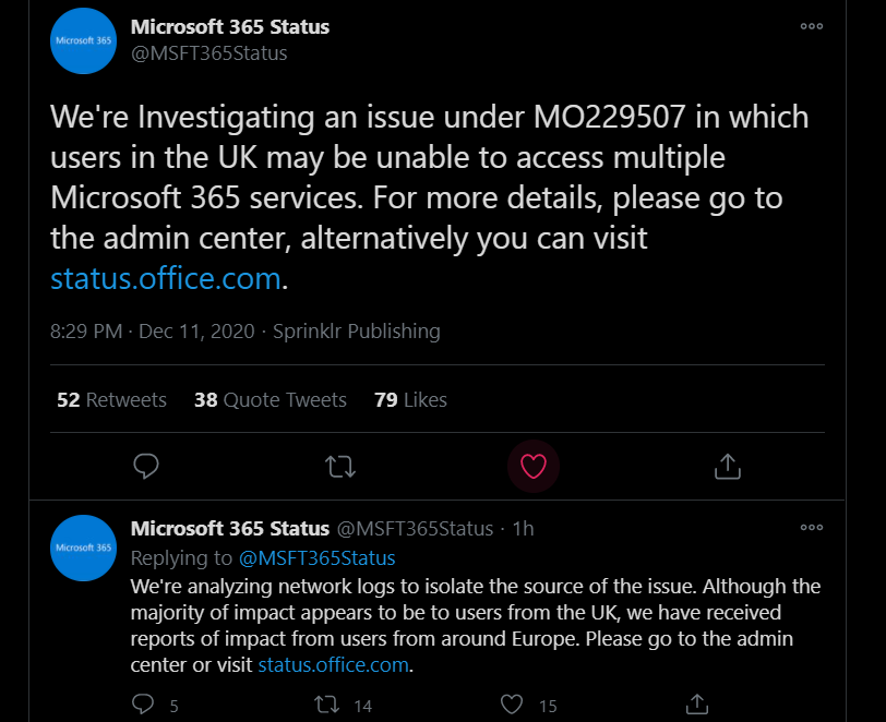 MO229507 - Microsoft 365 services down in UK Europe