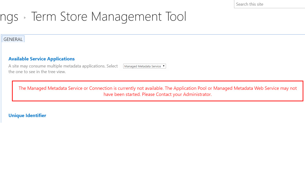 SharePoint Managed Metadata Service or Connection is currently not available