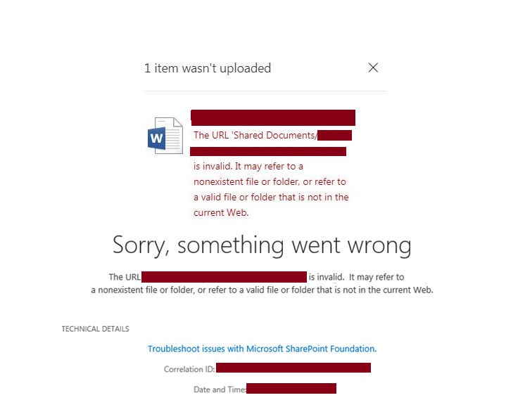 SharePoint file upload URL is invalid