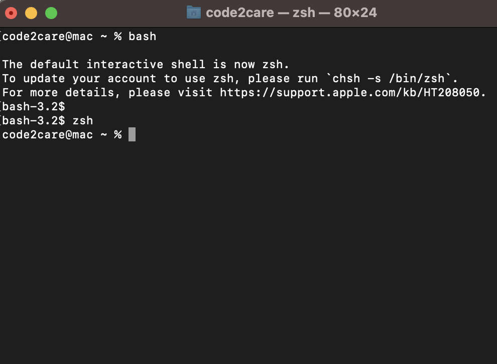 Move from Zsh to Bash Shell macOS Terminal Example